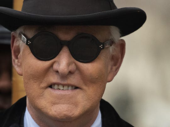 Roger Stone arrives for his sentencing at federal court in Washington, Thursday, Feb. 20, 2020. Roger Stone, a staunch ally of President Donald Trump, faces sentencing Thursday on his convictions for witness tampering and lying to Congress. (AP Photo/Manuel Balce Ceneta)