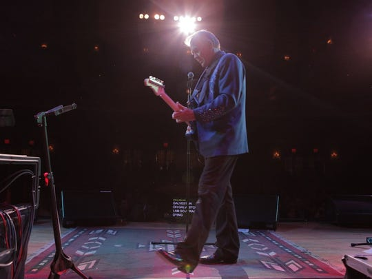 "Glen Campbell performing on ""The Goodbye Tour,"" in a scene from GLEN CAMPBELL...I'LL BE ME, directed by James Keach."