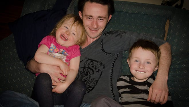 The Conley family includes father Chris, son Briley, 6 and daughter Brickley, 4.