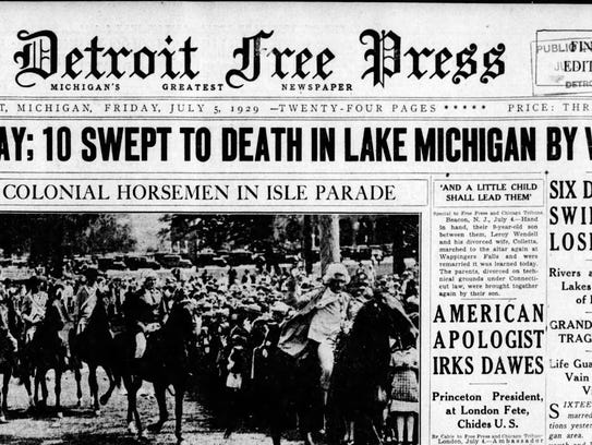 The July 5, 1929 front page of the Detroit Free Press