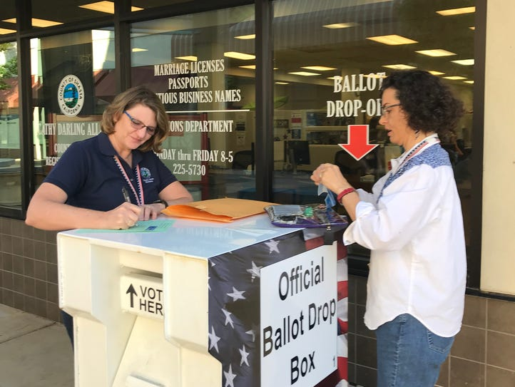 Staff at the Shasta County Clerk's office collect mail-in/drop-off