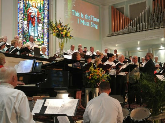 The annual First Celebrates Freedom features sing-alongs to patriotic songs and hymns.