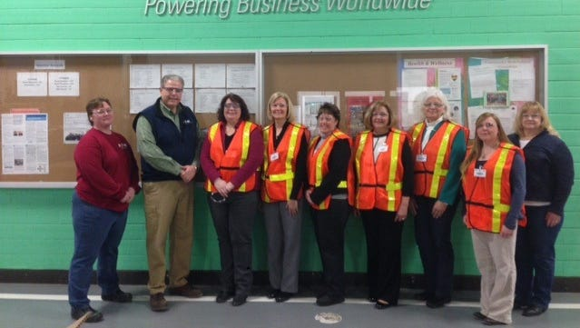 Four local agencies each received a $7,500 grant from Eaton in Horseheads. Pictured, from left, are Amy Cribb and Dale Webb of Eaton, Kristie Kinney of Court Appointed Special Advocates, Darlene Bartroney, Ruth Harvey of Chemung County Child Care Council, Karen Simons and Kathy Jantzen both of Reins of Hope, Tricia Shirey of Big Brothers Big Sisters and Carol Edwards of Eaton.