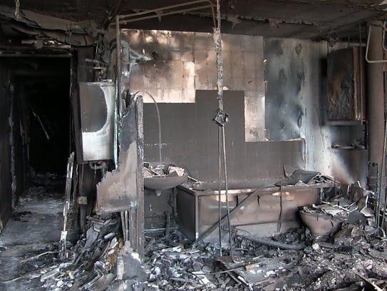 A bathroom in a fire-hit apartment.