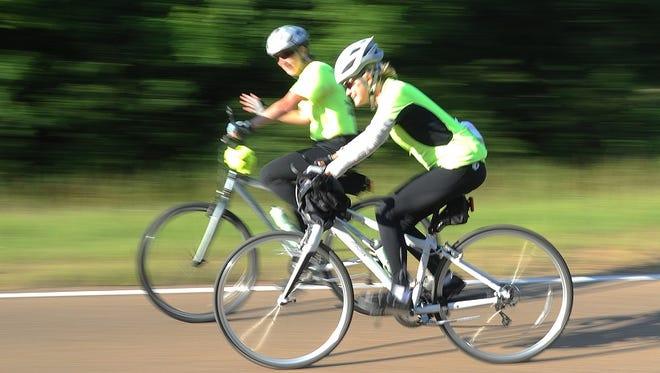 Enjoying a ride along the Natchez Trace, cycling is popular among men and women