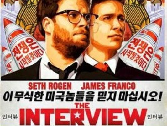 A poster for the movie The Interview, about two hapless reporters invited to North Korea and then recruited by the CIA to kill the country's leader.