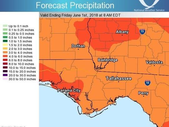 The latest forecast precipitation from the National