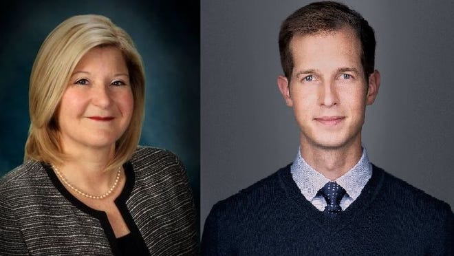 Candidates for Fourth Congressional District U.S. representative Julie Hall, left, and Jake Auchincloss, right.