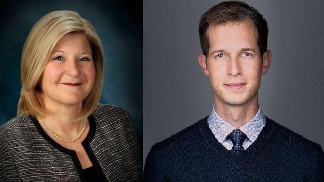 Democrat Jake Auchincloss, right, has defeated Republican Julie Hall for the 4th Congressional District seat in Massachusetts.