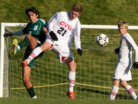 CVU's Patrick McCue (21) will be key to the Redhawks' defense and midfield control this season.