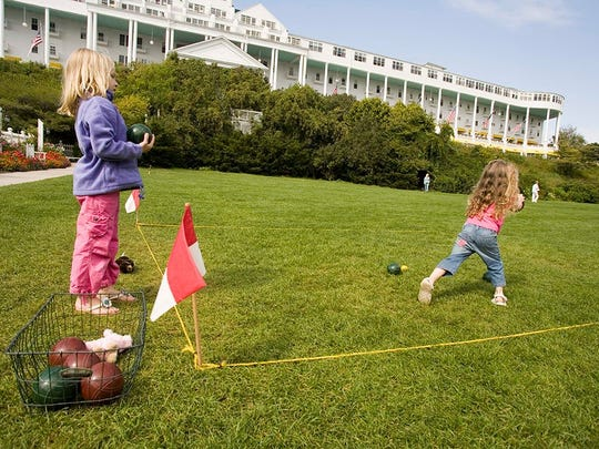 One of the simple pleasures of a stay at the Grand: Teaching your kids the finer points of croquet