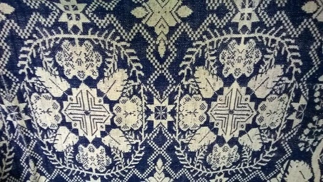 A coverlet donated by the Petram family is now on view at Willamette Heritage Center at the Mill.