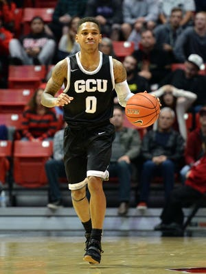 Dec 18, 2015: Grand Canyon Antelopes guard Dwayne Russell (0) brings the ball up the court against the San Diego State Aztecs during the second half at Viejas Arena at Aztec Bowl.
