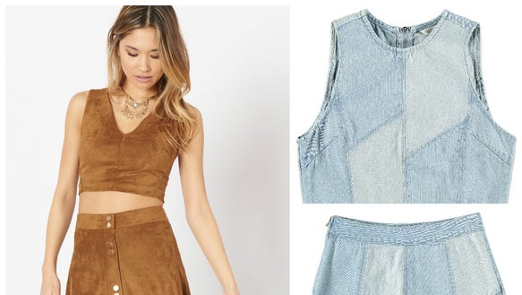 Faux suede combo, $32.95 and $39.95 at dynamiteclothing.com;