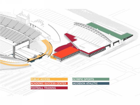 A conceptual drawing of Iowa State's athletics facilities project. The Board of Regents OK'd the project to continue during its Thursday meeting.