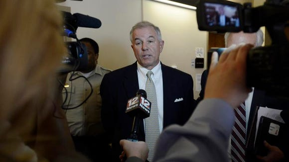 Former Rep. Greg Wren speaks to the media after pleading guilty to misdemeanor ethics charges at the Montgomery County Courthouse on Tuesday.