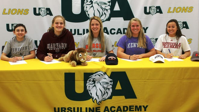 Ursuline Academy's Nov. 9 signees, from left to right: Emma Hansen (Brown, gymnastics), Maddie Struhlreyer (Harvard, basketball), Gracie Garanich (Mercer, volleyball), Julia Moran (Kenyon, swimming) and Jillian Shive (Louisville, field hockey).