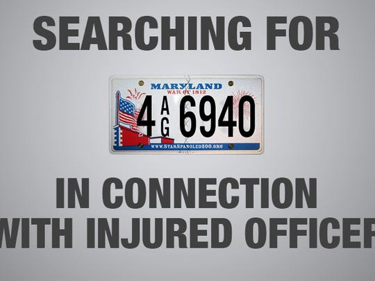 Here is the license plate number and style in accordance with video surveillance. Two people are being sought in connection to an officer injured by a vehicle on Wednesday, Nov. 4.