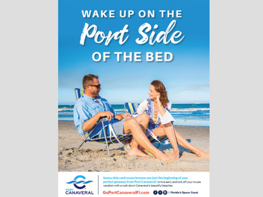 This is part of the Space Coast Office of Tourism campaign promoting cruise tourism, including staying on the Space Coast for one or more days before taking a cruise.