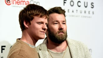 "Lucas Hedges, left, and Joel Edgerton, cast members in the upcoming film ""Boy Erased,"" pose together before the Focus Features presentation at CinemaCon 2018, the official convention of the National Association of Theatre Owners, at Caesars Palace on Wednesday, April 25, 2018, in Las Vegas. (Photo by Chris Pizzello/Invision/AP)"