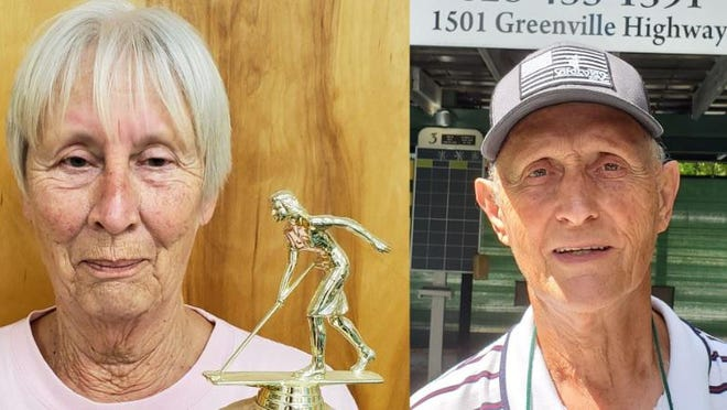 Lynda King, left, and Dave Wenger won individual North Carolina state singles tournament titles on Thursday at Whitmire Center.