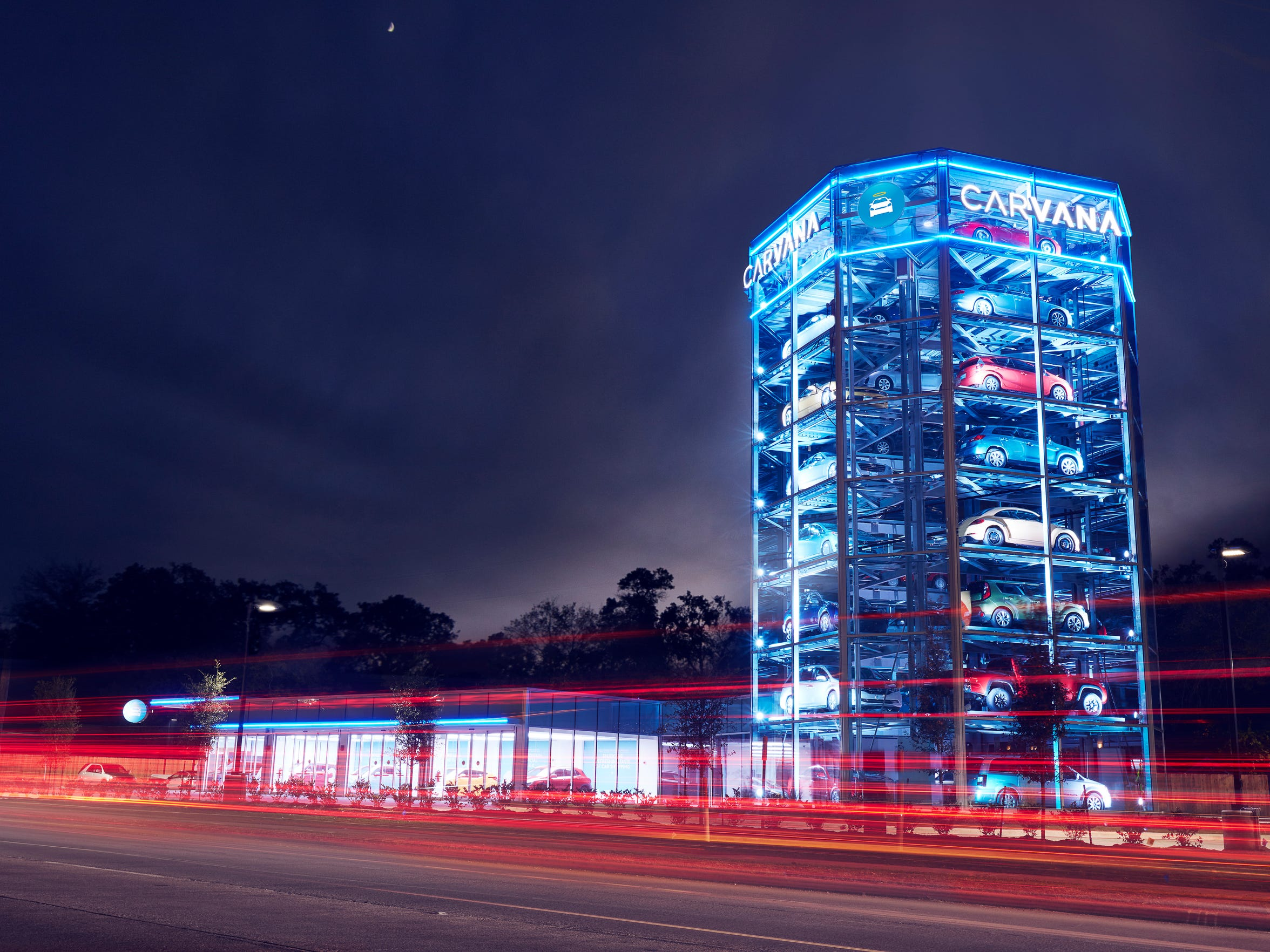 "A ""car vending machine"" at a Carvana site in Houston,"