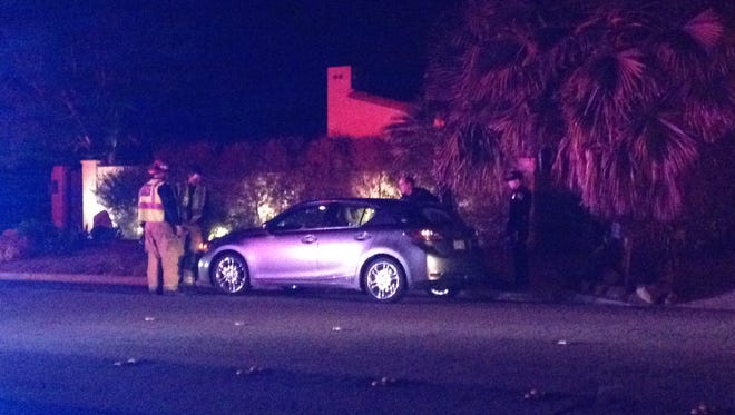 A 76-year-old man was hit by  a man driving a Lexus sedan Saturday evening in Palm Springs.