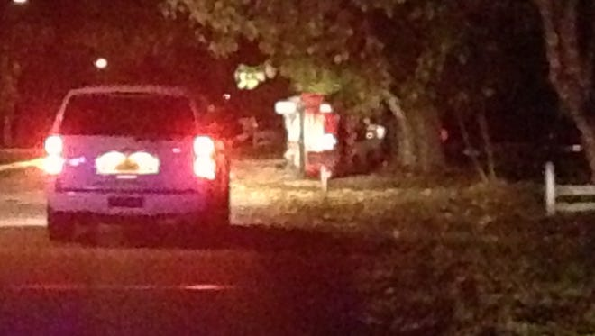 A vehicle flipped on its side Tuesday night