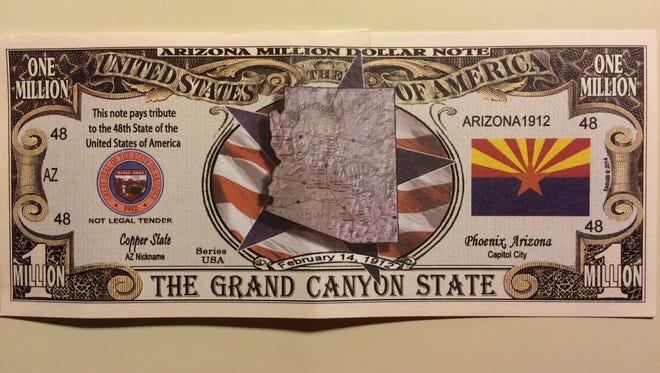 "State Treasurer Jeff DeWit has printed up ""Arizona million"" bills"