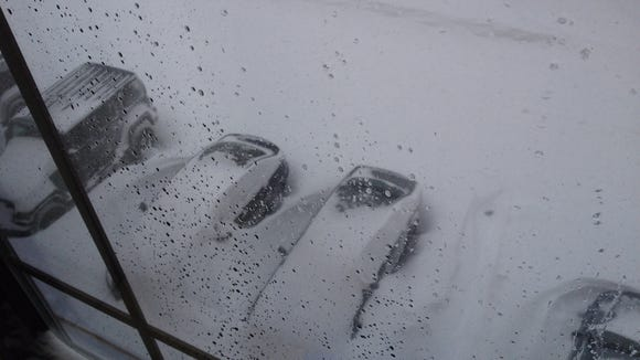 The view outside Kyler Hall's hotel room in Storrs, Connecticut.
