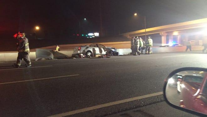 Single vehicle crash blocking I-110.