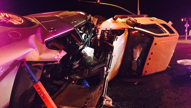 A white pickup truck collided head-on with a Chevy Impala Saturday night in Prescott Valley