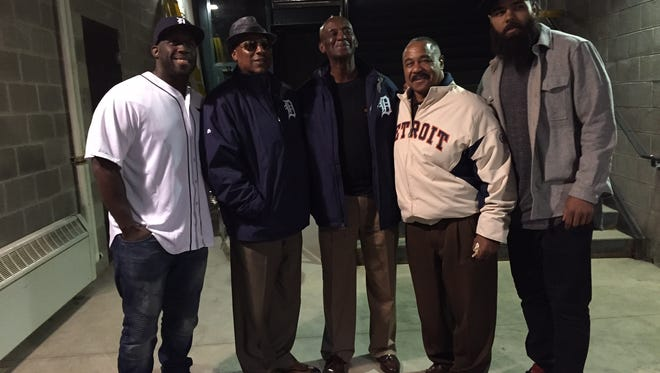 From left, Detroit Lions linebacker Stephen Tulloch joins former Detroit Tigers Lou Whitaker, Jake Wood and Willie Horton, along with Lions teammate DeAndre Levy at Comerica Park Friday.