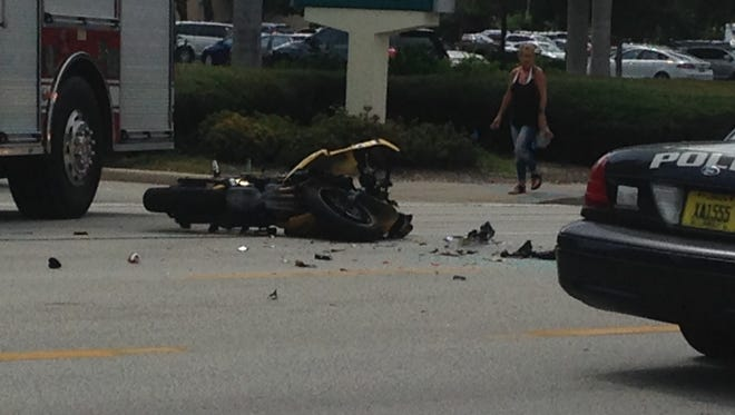 Motorcycle involved in crash on 41 at Stella Street.
