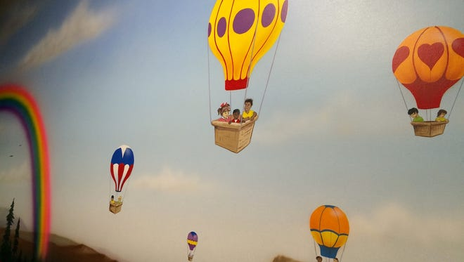 A mural in one of the six-room wings, which has a hot-air-balloon theme.