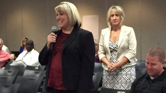 New Astronaut High principal Krista Miller thanks her mentors after being appointed at Tuesday's school board meeting.