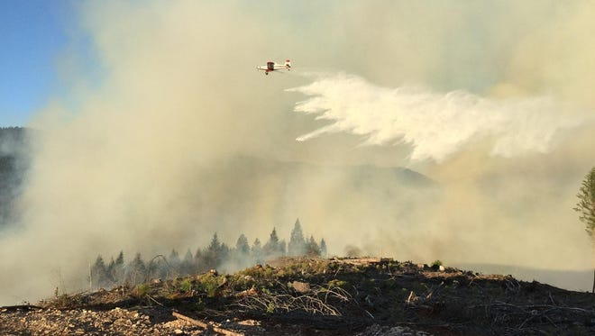 SEAT dropping water on the Cable Crossing Fire, 7-25-2015