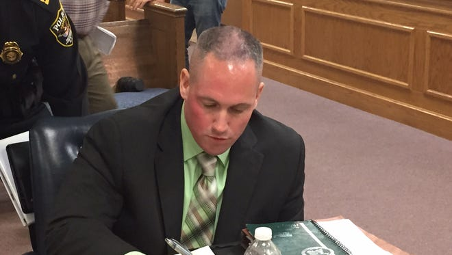 Morris Township Police Sgt. Sean O'Hare at his disciplinary hearing in July 2015.