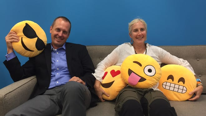 Caleb Barlow, vice president IBM Security (left) and Julie Ask, Forrester analyst (right), at USA TODAY's San Francisco bureau on Friday, Oct. 9, 2015.