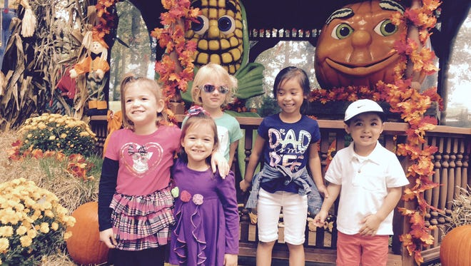 (From left) Eva and Sara Testa, Kai Kleinbord, and Olivia and James Phan were among the students in The Ellison School's Early Learning Center who recently enjoyed a field trip to Storybook Land in Egg Harbor Township.