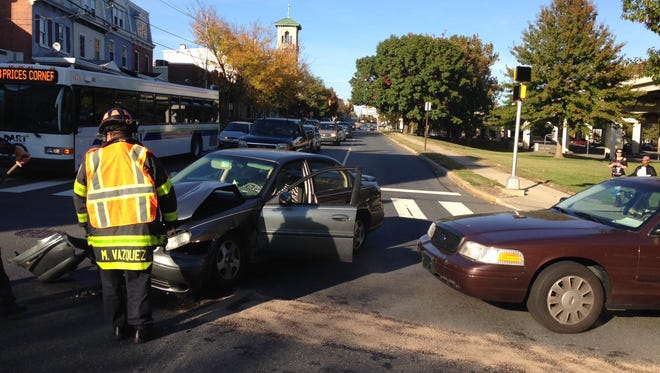 A three-vehicle crash at Second and Jackson streets in Wilmington is jamming Wednesday afternoon rush hour traffic.