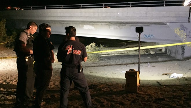 Emergency personnel responded to a man on fire under the bridge off Ramon Road and Landau Boulevard on Nov. 20, 2015.