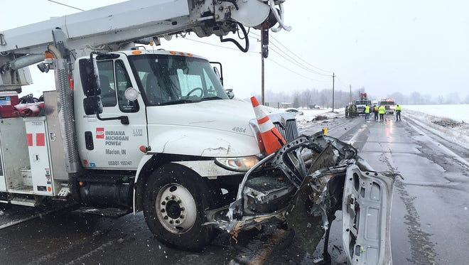 The front of the AEP truck involved in today's fatal accident on SR 28 near Gaston.
