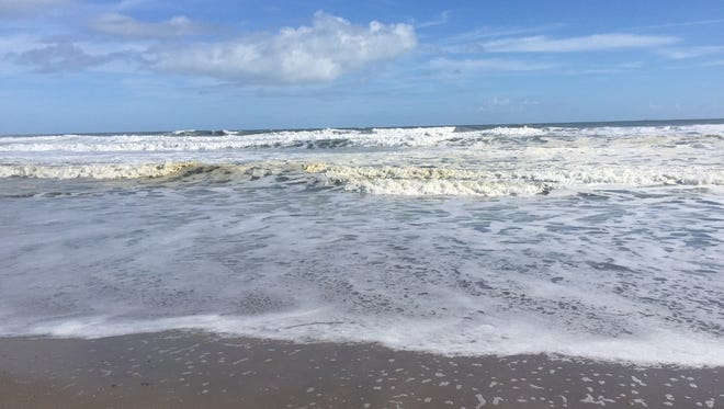Brown patches washed in with the surf in Satellite Beach Sunday. Biologists suspect heavy surf broke up Sargassum weed into the pieces that created the patchy brown water.