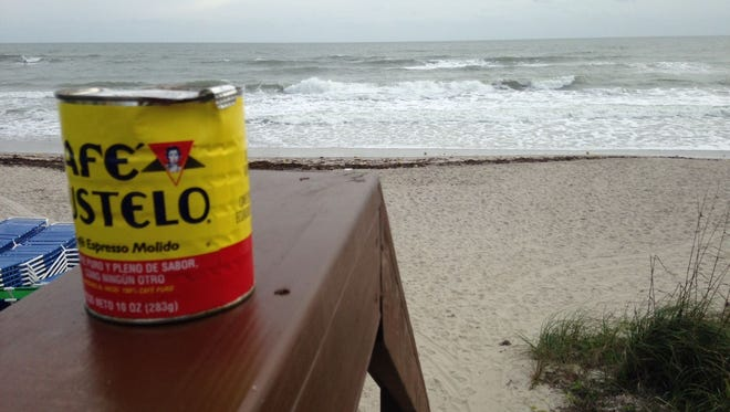 A solo can of Cafe Bustelo recovered from shoreline along Indialantic