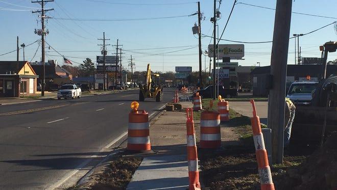 Sidewalk construction along Cypress St. in West Monroe