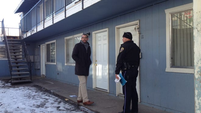 Reno police and community leaders visited residents of the Pat Baker Park neighborhood Thursday morning as part of a community outreach effort.