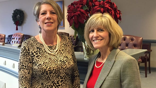 From left, newest Morris County Freeholders Deborah Smith and Christine Myers, both sworn into office Jan. 3, 2016