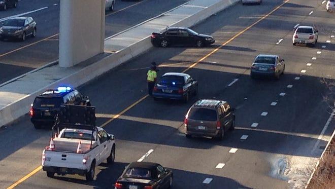 A crash on I-95 southbound has traffic delayed Wednesday morning.