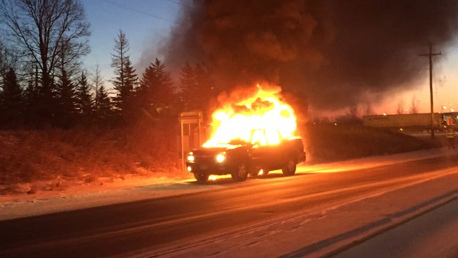 A pickup caught fire on Stearns County Road 1 near the intersection with Minnesota Highway 15 Tuesday morning.